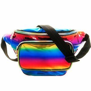 Rainbow PVC Fanny Pack Crossbody Bag Metallic